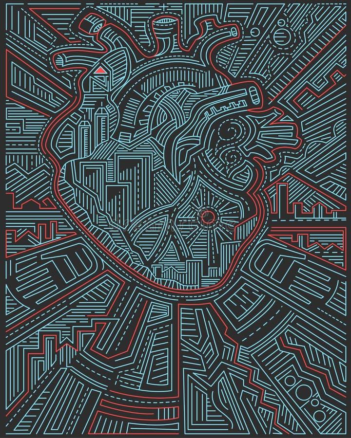 Человеческое сердце и городские символы иллюстрация вектора