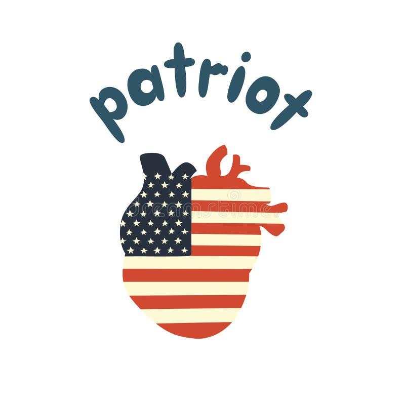 Человеческое сердце покрашено в цветах флага США иллюстрация штока