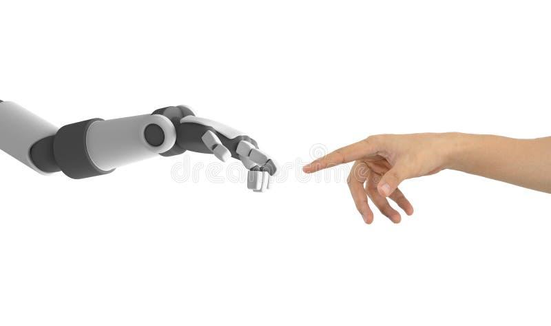 Человеческое ` s руки и робота вручает изолированный указывать друг к другу бесплатная иллюстрация
