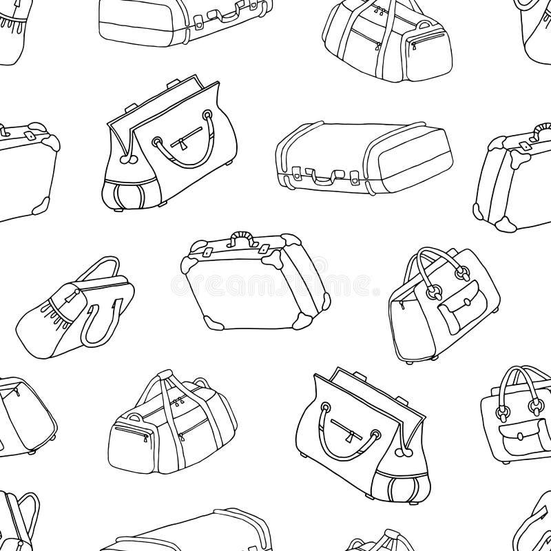Чемоданы - безшовная картина Комплект сумок перемещения Рисовать в бесплатная иллюстрация