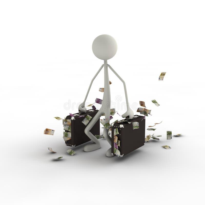 чемоданы дег stickman иллюстрация вектора