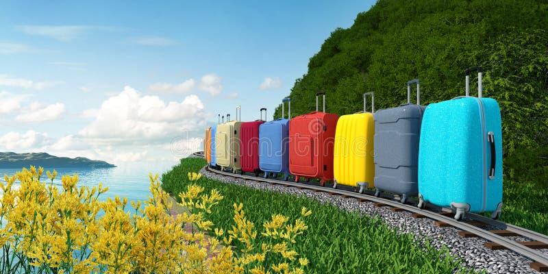 Чемоданы перемещения идут на рельсы к морю на каникулах стоковые фотографии rf