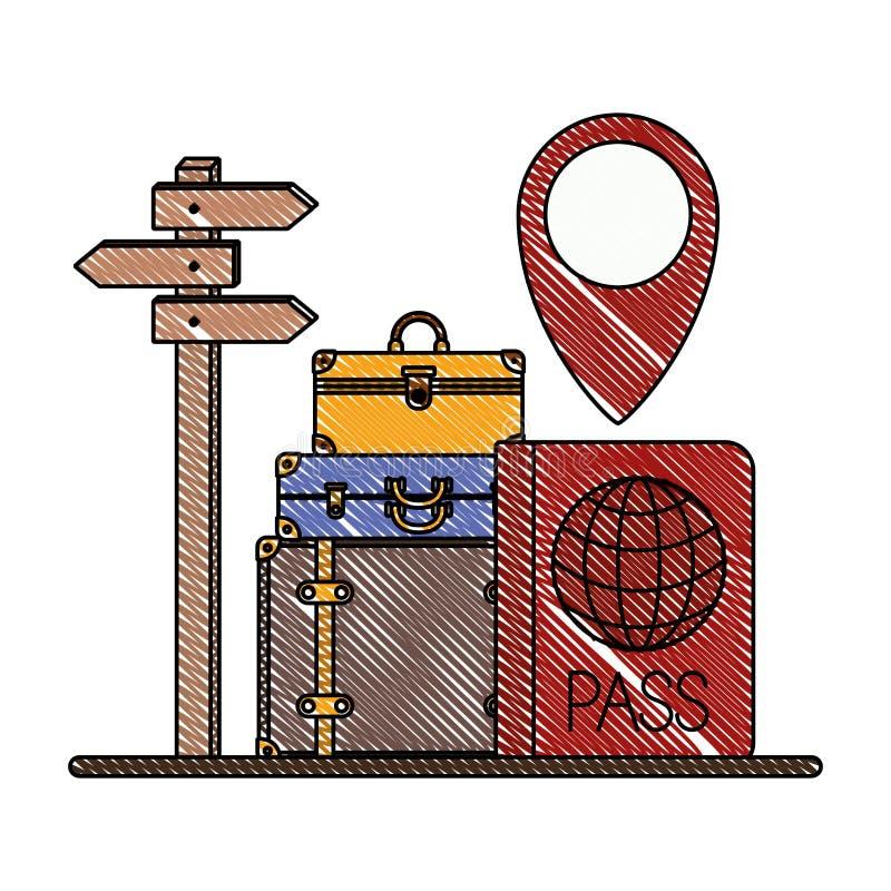 Чемоданы путешествуют вокруг значков мира иллюстрация штока
