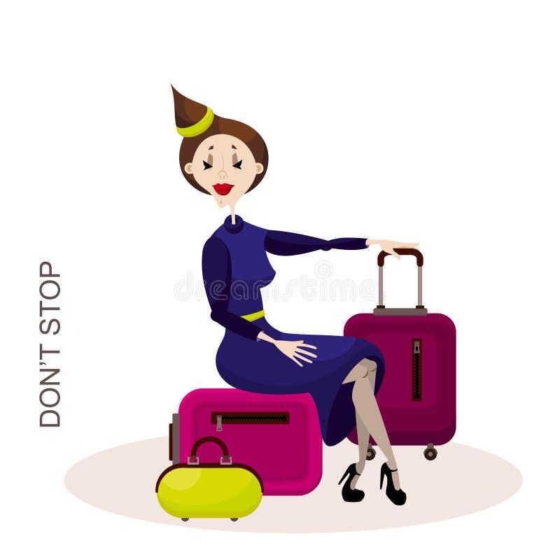 чемодан девушки сидя иллюстрация вектора