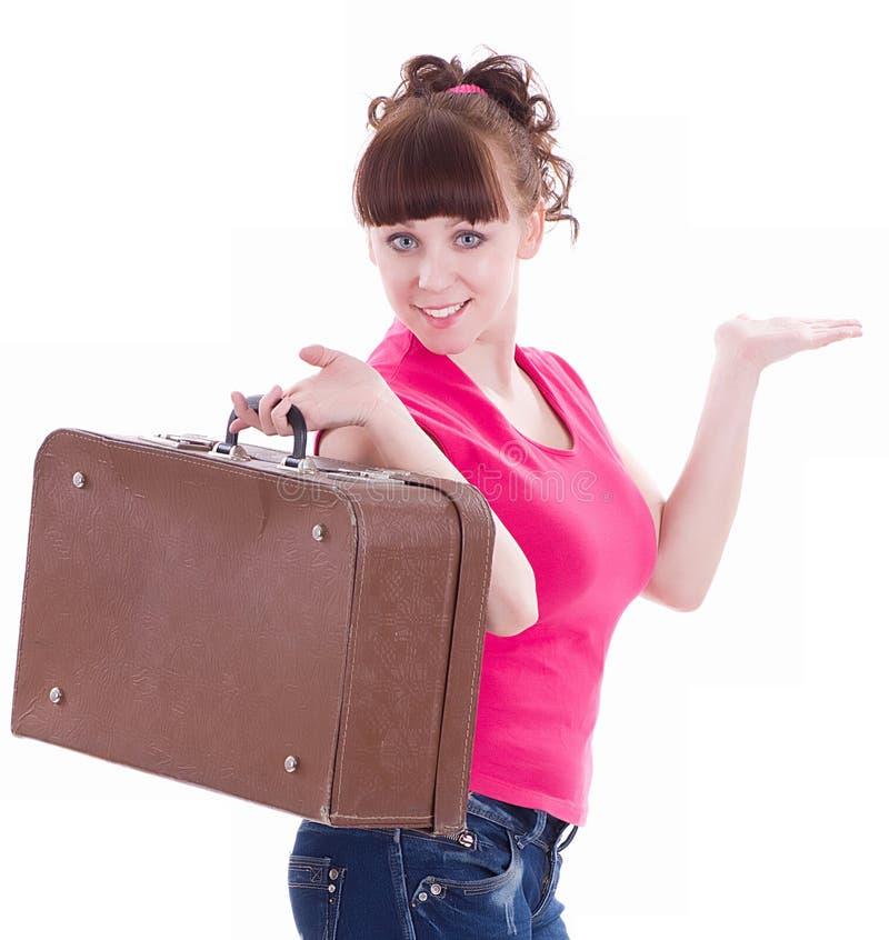 чемодан девушки счастливый стоковая фотография rf