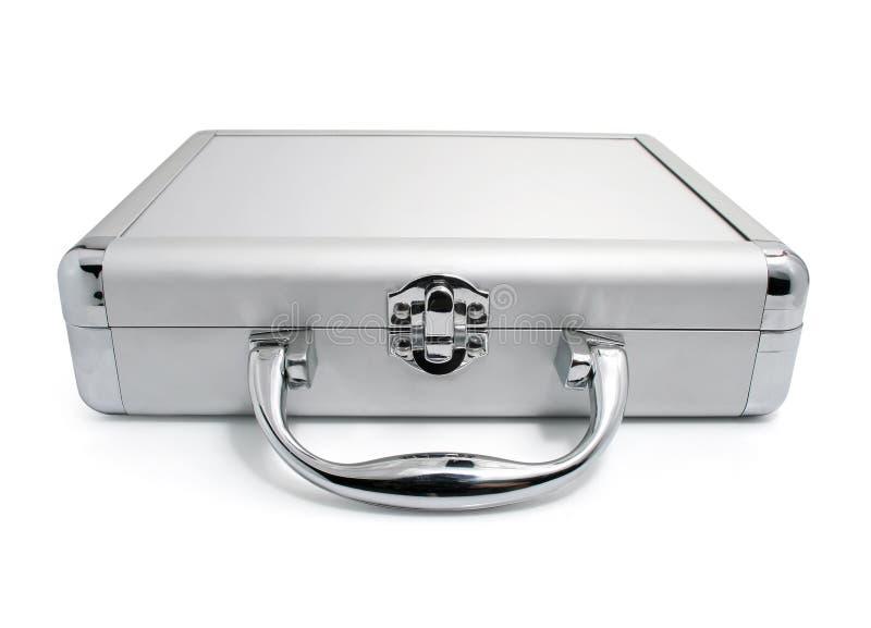 чемодан изолированный делом самомоднейший серебряный стоковая фотография