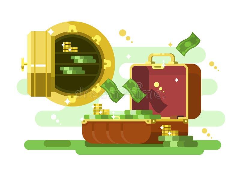 Чемодан и сейф с деньгами и золотыми монетками иллюстрация штока