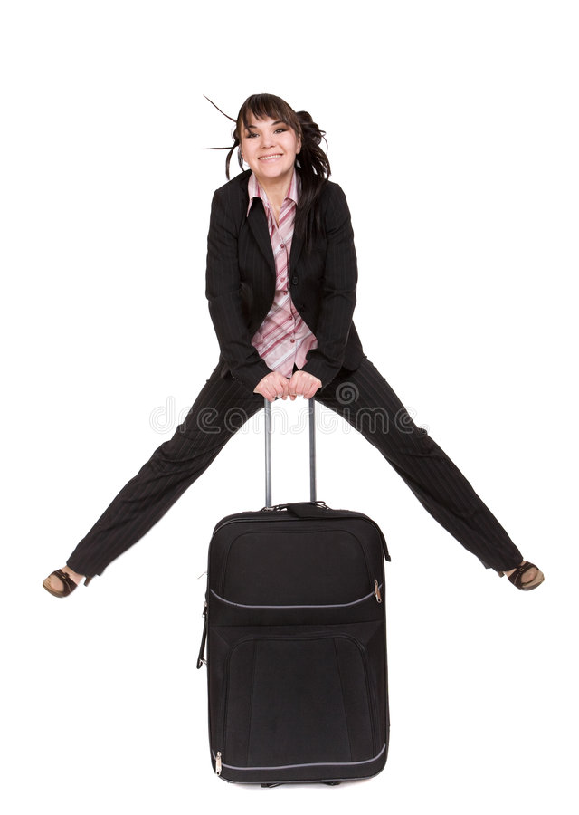 чемодан коммерсантки стоковое изображение rf