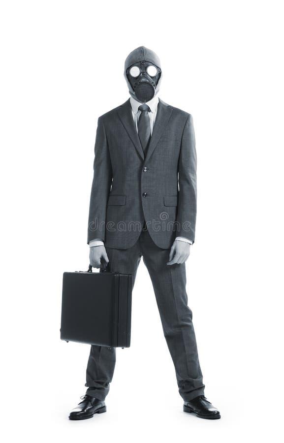чемодан маски противогаза бизнесмена стоковое фото