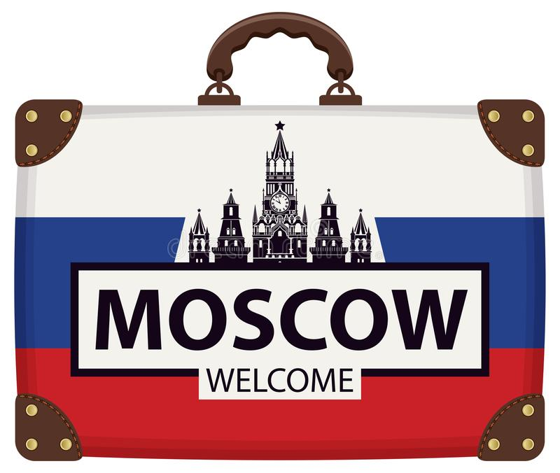 Чемодан перемещения с русскими флагом и Кремлем иллюстрация вектора