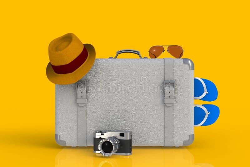 Чемодан путешественника с соломенной шляпой и ретро камеры фото фильма на желтой предпосылке иллюстрация штока