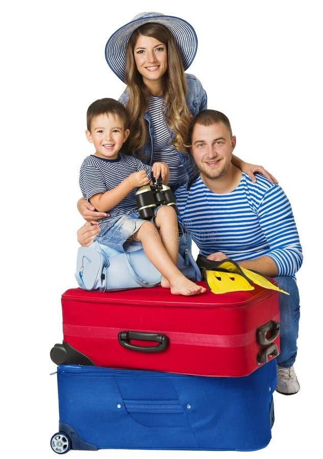 Чемодан семьи, ребенок родителей на сумке багажа, людей и перемещения стоковое изображение rf