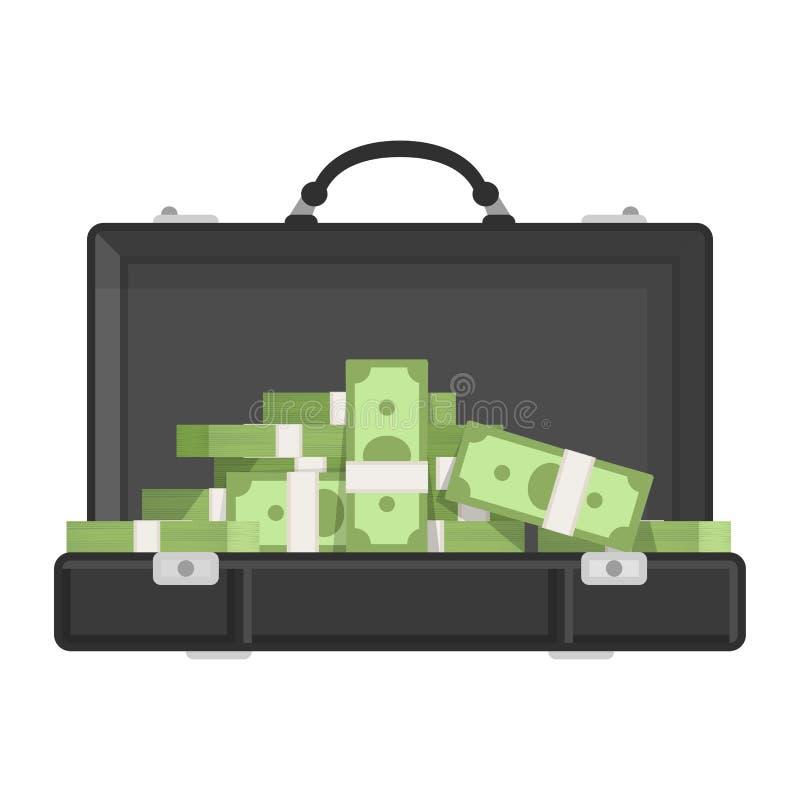 Чемодан с деньгами иллюстрация вектора