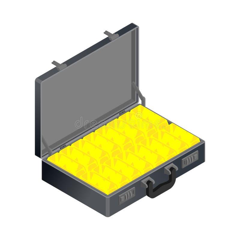 Чемодан с золотом Случай с золотым миллиардом Богатство чемодана иллюстрация вектора