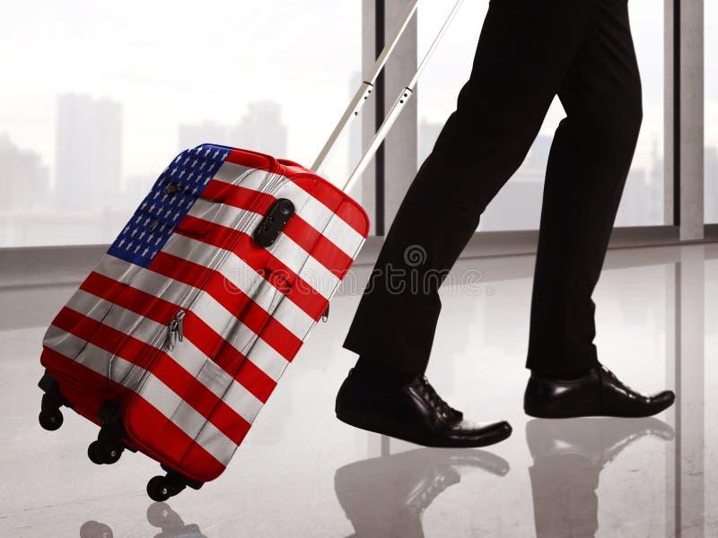 Чемодан с картиной флага США стоковая фотография rf