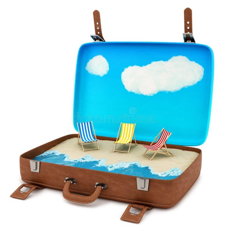Чемодан с пляжем бесплатная иллюстрация