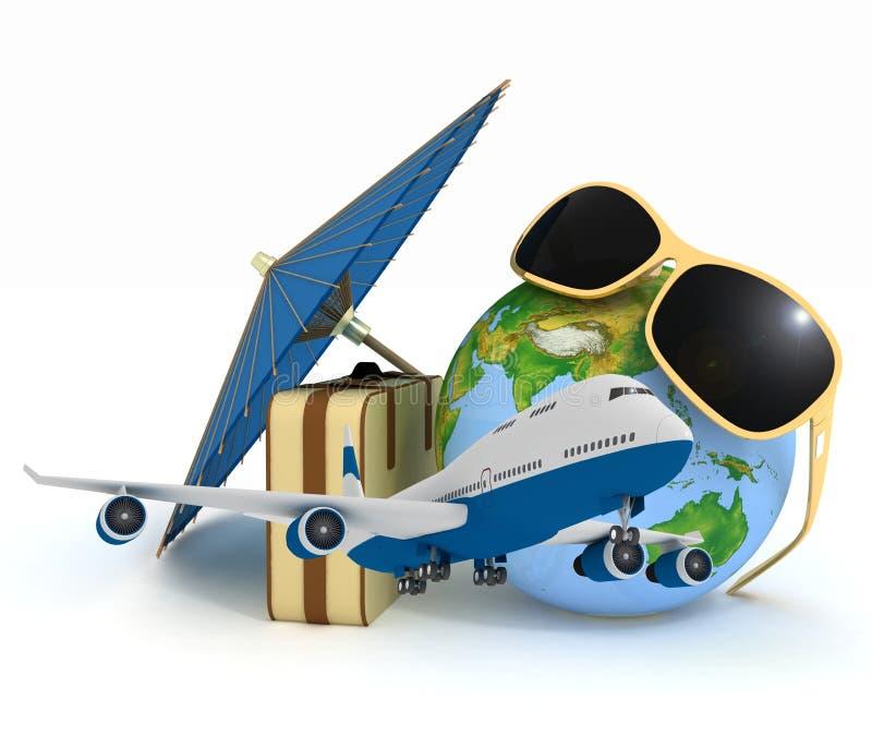 чемодан 3d, самолет, глобус и зонтик иллюстрация вектора