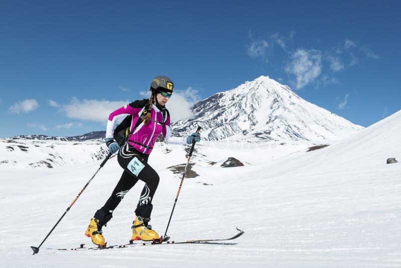 Чемпионаты альпинизма лыжи: подъем альпиниста лыжи девушки на лыжах на вулкане предпосылки стоковое изображение rf
