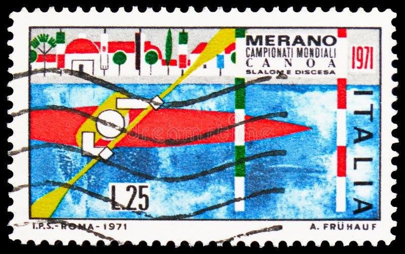 Чемпионаты мира Canoeing (каякинг), serie, около 1971 стоковое изображение