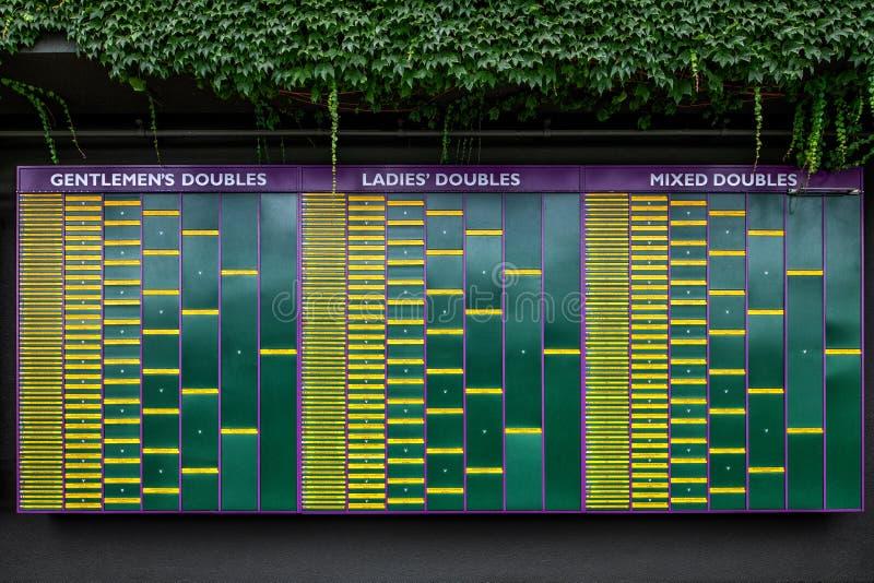 Чемпионаты табло 2018 тенниса лужайки Уимблдона стоковое фото