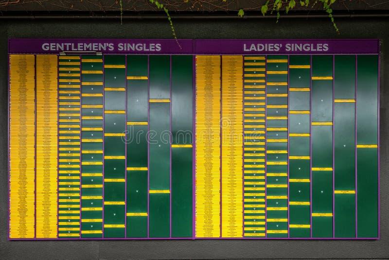 Чемпионаты табло 2018 тенниса лужайки Уимблдона стоковые изображения rf