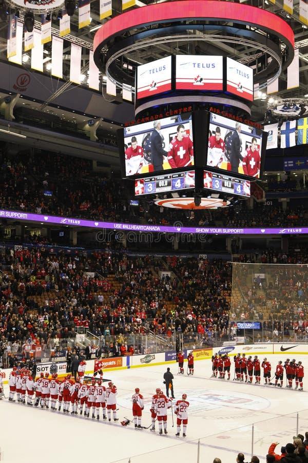 2015 чемпионаты хоккея мира младшие, центр Air Canada стоковое изображение rf