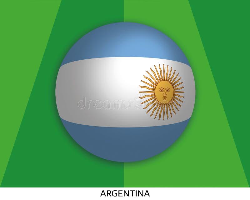 Чемпионат мира футбола с флагом Аргентины сделал кругом как футбольный мяч на играя траве иллюстрация штока