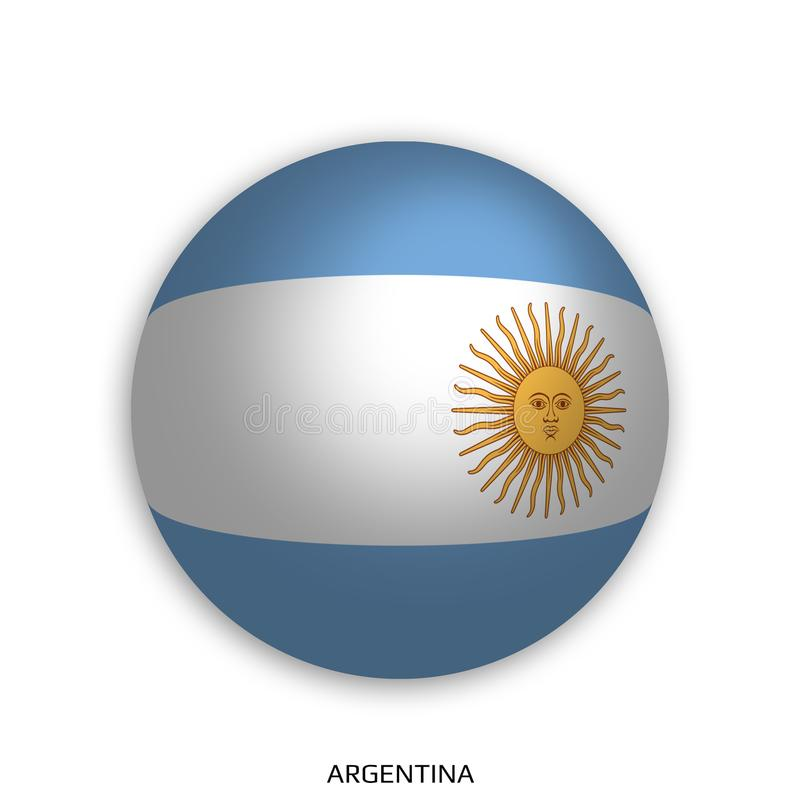 Чемпионат мира футбола с флагом Аргентины сделал кругом как футбольный мяч - упадите тень и изолированный на белизне иллюстрация штока