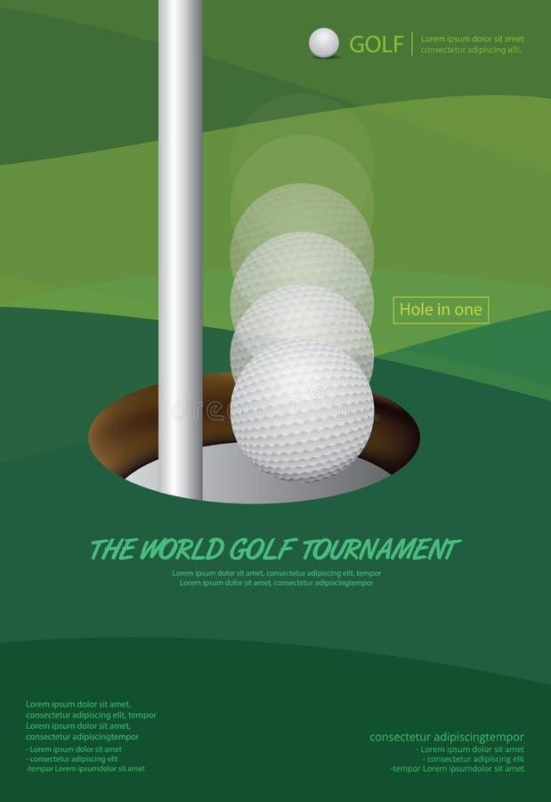 Чемпионат турнира гольфа плаката иллюстрация штока