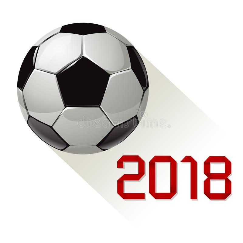 Чемпионат 2018 футбола мира футбола на checkered бумажной предпосылке иллюстрация вектора