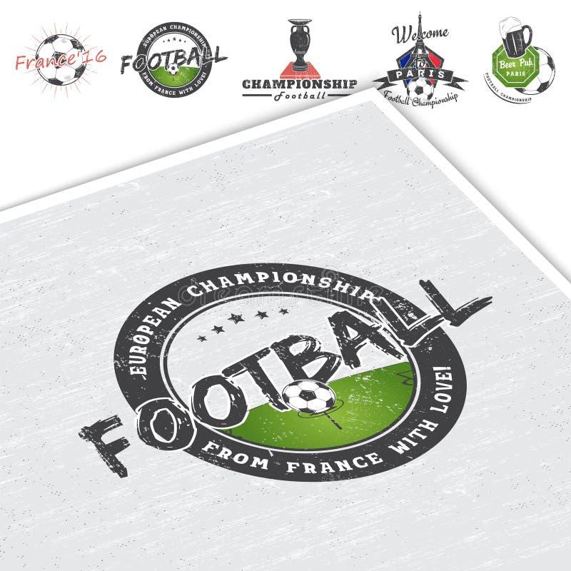 Чемпионат футбола Время футбола Детальные элементы Старый ретро винтажный grunge Поцарапанное, поврежденное, пакостное влияние иллюстрация штока