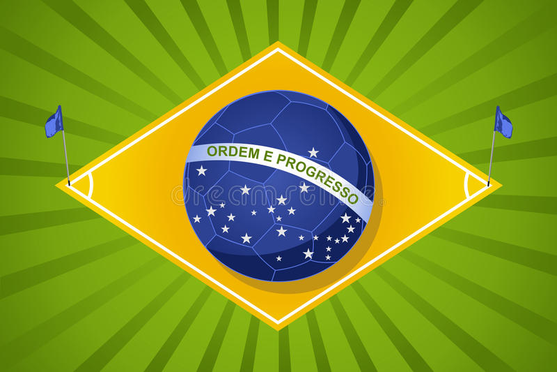 Чемпионат 2014, compositi футбола мира Бразилии шарика флага суда иллюстрация вектора