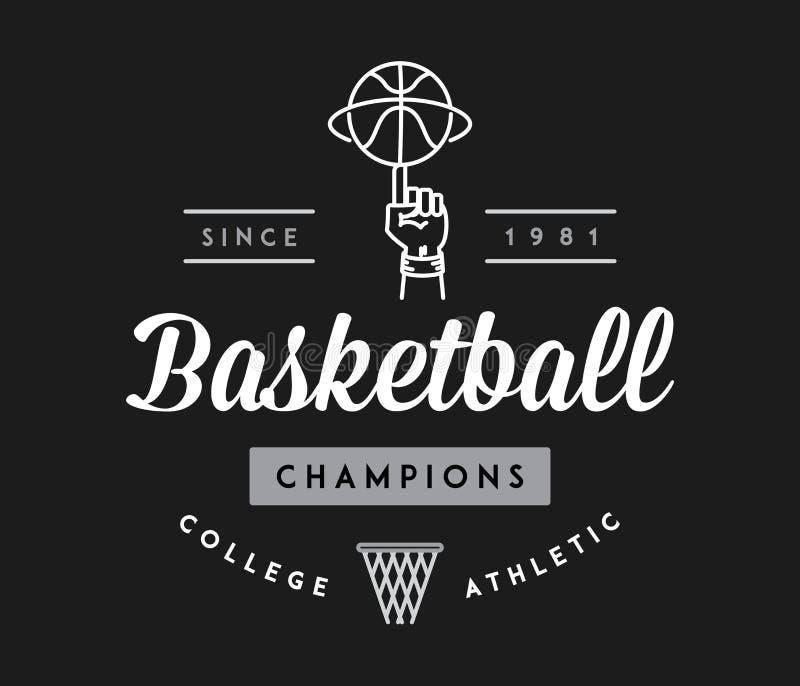 Чемпионы баскетбола белые на черноте бесплатная иллюстрация