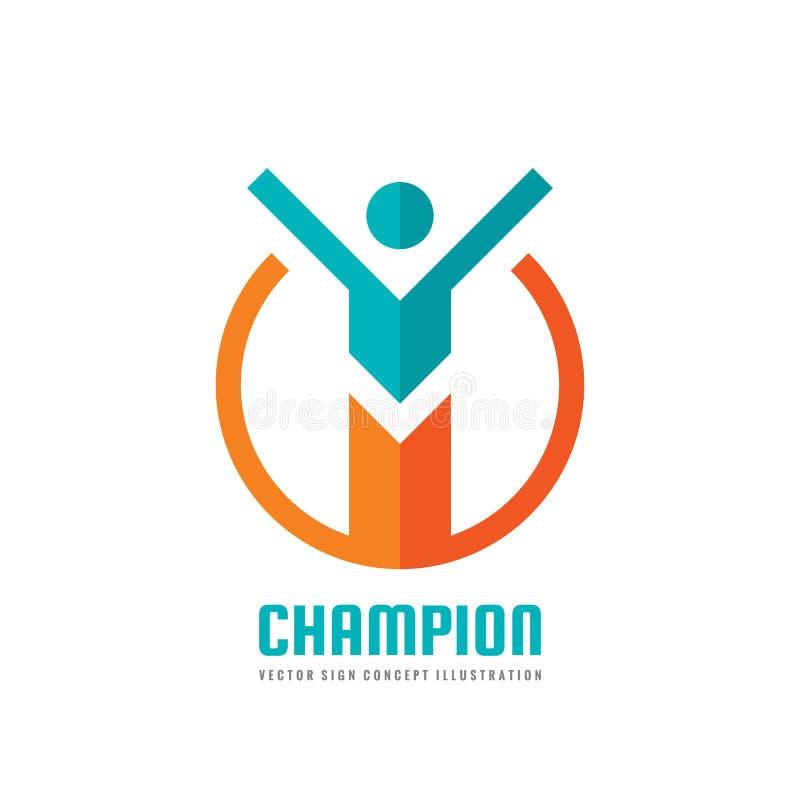 Чемпион - иллюстрация концепции шаблона логотипа дела вектора Знак характера руководства человеческий Абстрактный символ людей иллюстрация вектора