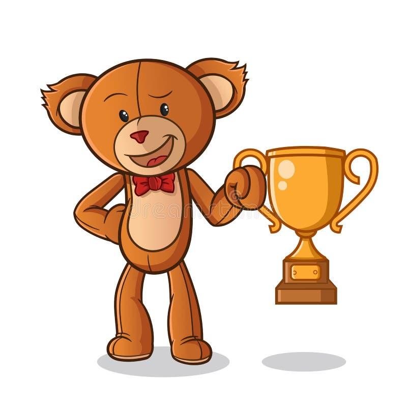 Чемпион куклы плюшевого мишки с иллюстрацией искусства мультфильма вектора талисмана трофея иллюстрация вектора