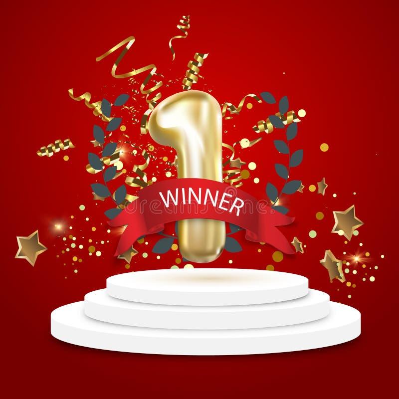 Чемпион, победитель, предпосылка одно с красной лентой, оливковая ветка и confetti на круглом постаменте изолированном на сини Пл иллюстрация штока