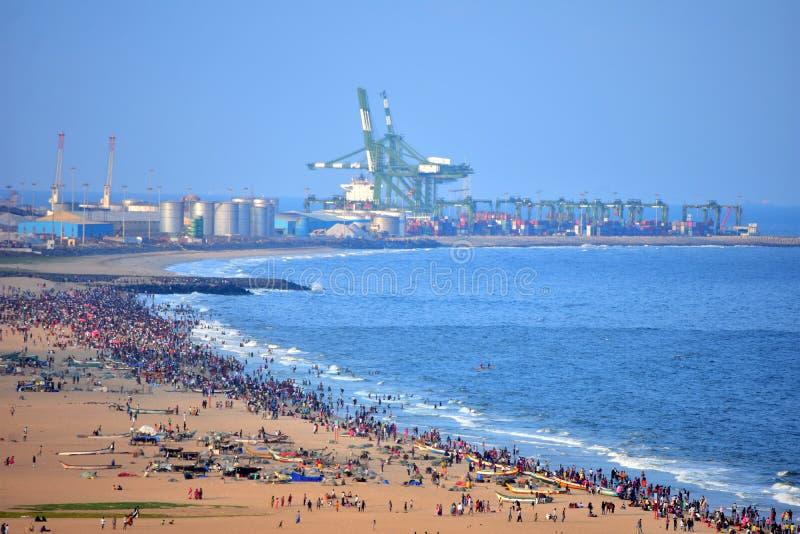 Ченнаи, Tamilnadu, Индия: 26-ое января 2019 - порт Ченнаи стоковое изображение