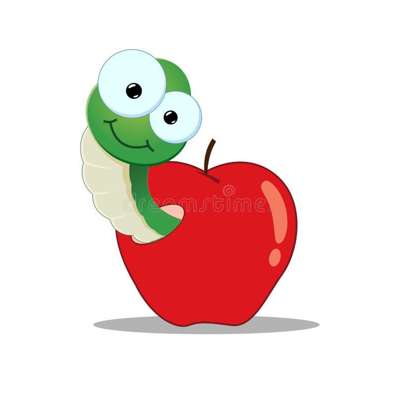 Картинка веселый червяк из яблоками