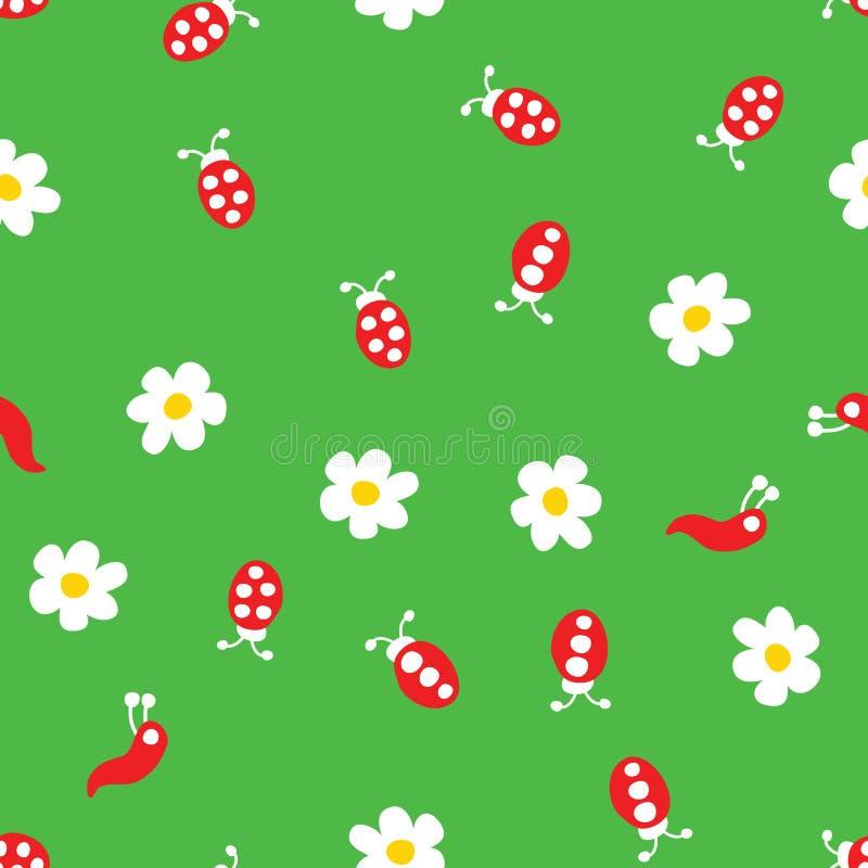 Червь Ladybug и картина цветков безшовная иллюстрация штока
