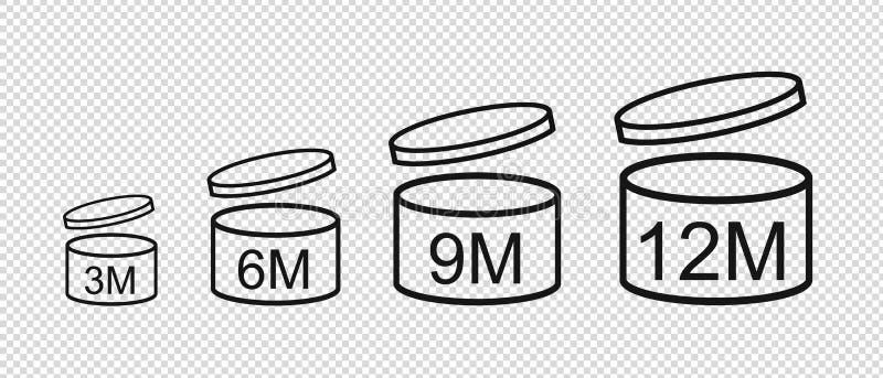 Через период после открытия значков - иллюстрации вектора - изолированных на прозрачной предпосылке иллюстрация штока