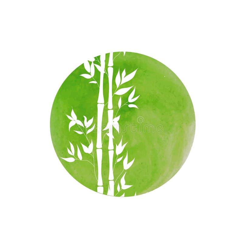Черенок круга и бамбука акварели вектора нарисованные рукой, иллюстрация предпосылки иллюстрация штока