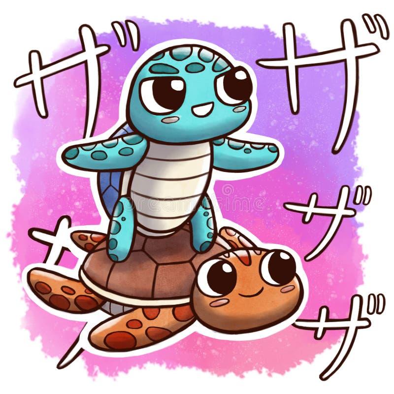 Черепаха занимаясь серфингом размер квадрата другое †черепахи «с предпосылкой акварели и японской ономатопеей иллюстрация штока