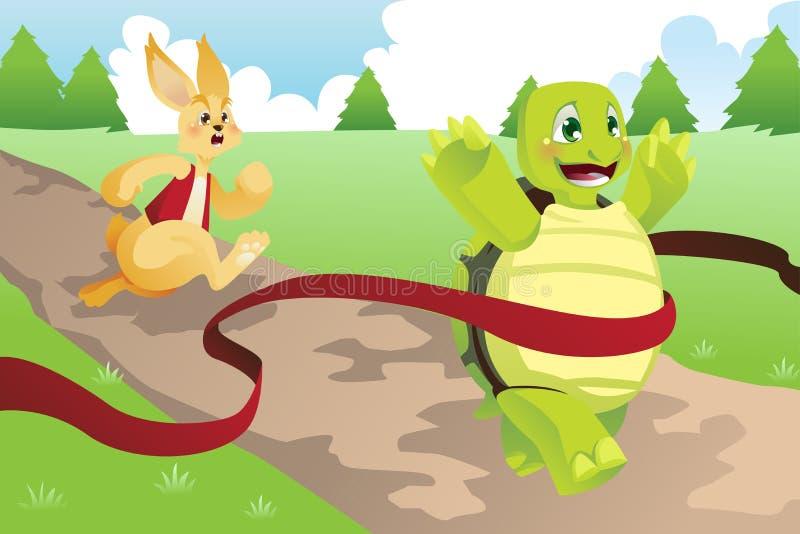 Черепаха и зайцы иллюстрация вектора