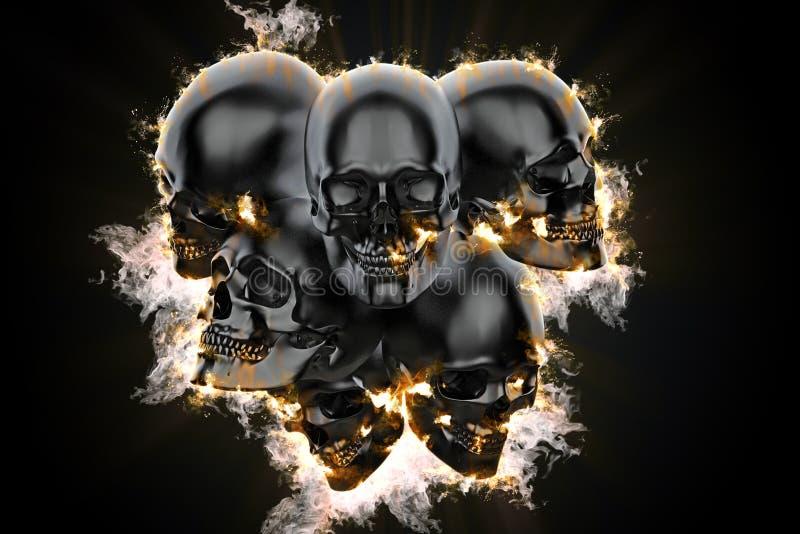 Черепа в пламени иллюстрация 3d иллюстрация вектора