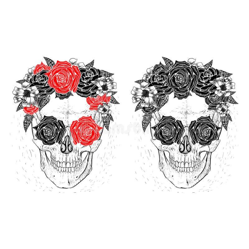 Черепа и цветки иллюстрация вектора
