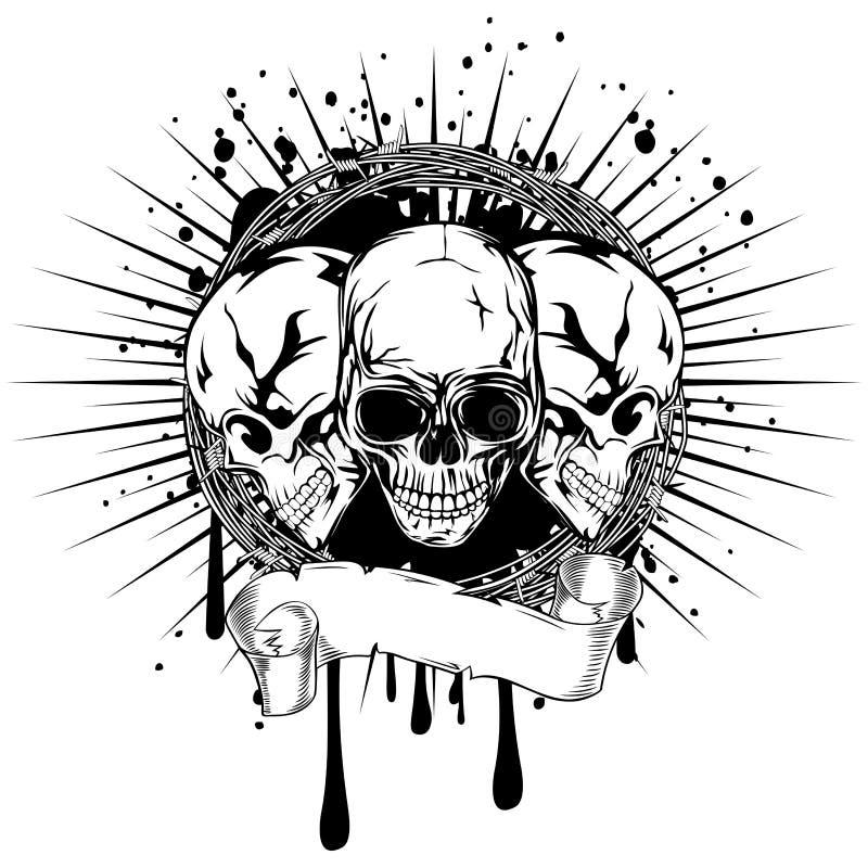 черепа 3 иллюстрация вектора