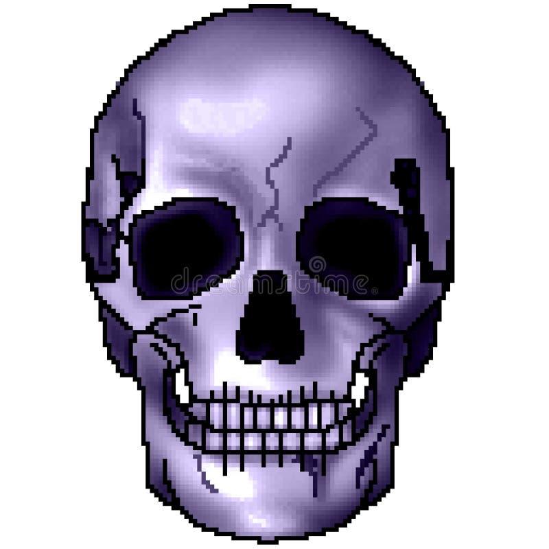 Череп бита пиксела 8 вычерченный красочный затеняемый grinning стоковое фото
