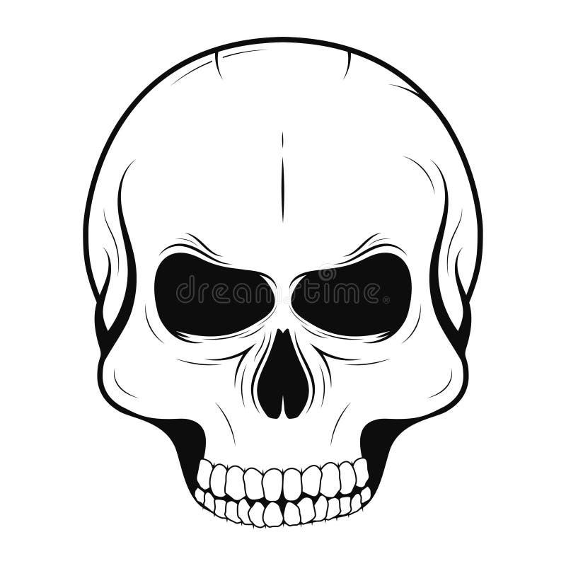 Череп вектора в monochrome и винтажном стиле татуировки Черный человеческий череп изолированный на белой предпосылке бесплатная иллюстрация