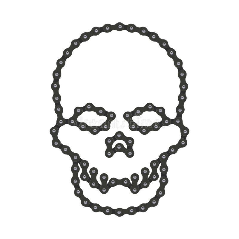 Череп вектора человеческий сделанный цепи велосипеда или велосипеда Vector символ головы ` s черепа или смерти Высок-детальный че иллюстрация вектора