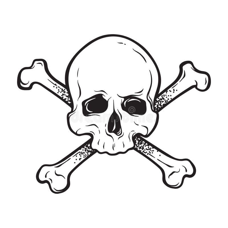 Череп Веселого Роджера человеческий с перекрещенными костями изолировал нарисованную рукой иллюстрацию вектора Напечатайте, шабло бесплатная иллюстрация
